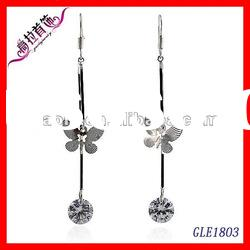 fashion wholesale butterfly drop earrings, pure white butterfly earrings