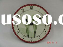 flower wooden wall clock/hot selling clock/modern home decorative wooden clock/lovely wooden clock