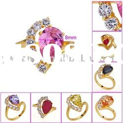 high quality copper plating 18k gold eternity ring with large colorful zircon 190604