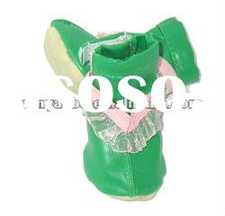 hot selling good quality pu dog pet shoes 4 pcs one pair green color