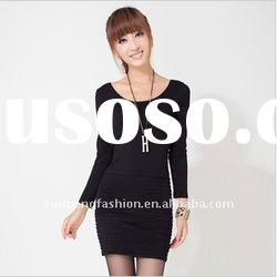 lady long sleeve knitted dress for 2012