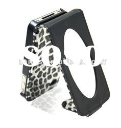 leopard flip leather case cover for iphone 4 4s with mirror