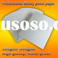 professional waterproof inkjet glossy photo paper,120g to 260g,cast coated,factory supply,China