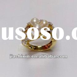 sterling silver gold plated fake pearl ring