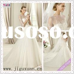 1965-1hs Special Style of A-Line White Tulle wedding dress with half sleeve in Sheer and Appliqued