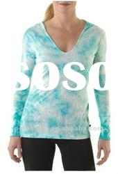 2012 Ladies polyester cotton burnout tie dyed yoga shirts