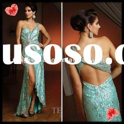 2012 Most Beautiful Beaded And Lace Applique Long Slit One-Shoulder Mother Of the Bride Lace Dresses