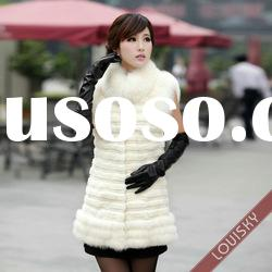 2012 New Lady's Rex rabbit fur and fox fur vest Free shipping White