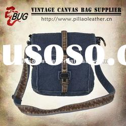2012 Popular Vintage Fashion Cotton Canvas Messenger Bag With PU Leather Good For Men/Women/Teens