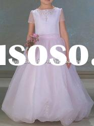 2012 latest style short sleeve beading organza flowergirl children dress CBF10049