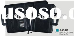 2012 zipper leather file folder with handle