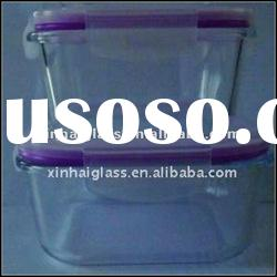 500ML /700ML rectangle glass food container with lid