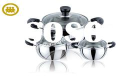 6Pcs black handle & stainless steel cookware set