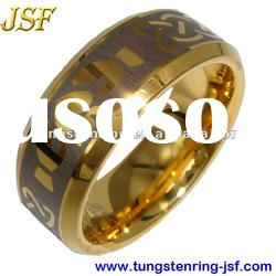 8mm fashion gold tungsten carbide wedding ring
