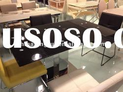 C-104-2,the hot sale mirrored glass top dinner table (tempered glass, chromed iron pipe)