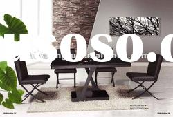 C-53,the hot sale mirrored glass top dinner table (tempered glass, spraying iron pipe)