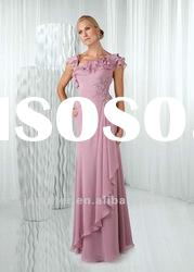 Chiffon cap-sleeve long mother of the bride dresses (ABB076)