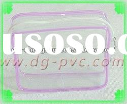 Clear PVC Cosmetic Zipper Bag with Colored Plastic Piping