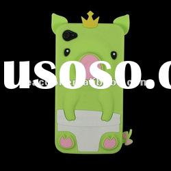 Cute 3D Pig Crown Silicone Case Back Cover Skin for Apple iPhone 4G 4S