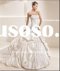 Elegant Ruffle Lace Ball Gown Strapless Wedding Dress T-3014
