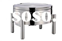 GW-260A-GL 6L Stainless Steel Round Glass Lid Chafing Dish with Hydraulic Hinge