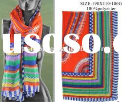 Geometric Print Voile Scarf For 2012 Spring Summer