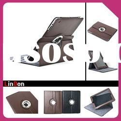 Good design! PU Leather smart cover case with rotating stand for iPad 2 3 PD312