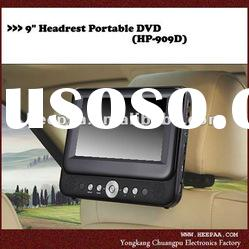 HEPA: 9 inch car headrest mount portable dvd player with built in batteries, bracket