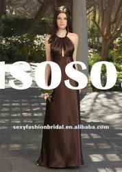 Halter column ruffle Natural waist ankle length brown bridesmaid dresses