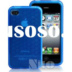Hexagon Pattern TPU Case For iPhone 4/4S - Blue