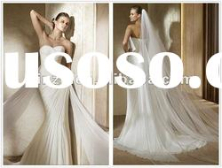 Hot Saled Elegant Sweetheart Neckline Wrinked Chiffon Mermaid Wedding Dress--WD1008