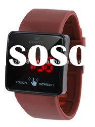 Hot red digits led touch screen wrist watch