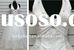 Hot sale Real picture Ruffle Halter Wedding dress