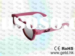 Pink 3D TV Plastic Circular polarized 3D glasses