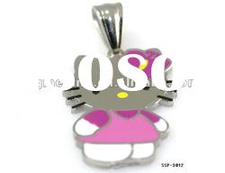 Popular Hello Kitty Stainless Steel Necklace Pendant with Colorful Epoxy