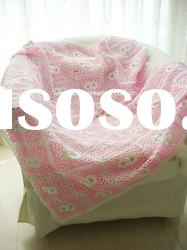 """QN10004C Handmade Crocheted Baby Soft Blanket Afghan Coverlet Cotton 40""""*40"""" Circles"""
