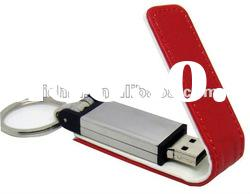 RED leather USB flash drive