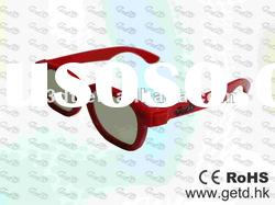 Red 3D TV Plastic Circular polarized 3D glasses