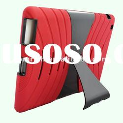 Red BLACK HARD CASE SOFT RUBBER SKIN STAND COVER FOR APPLE iPAD 2 3