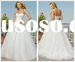 Royal Sweetheart Neckline Sashed Tulle Princess Bridal Wedding Dress--WD1010