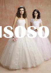 SAN013 Strapless appliques tulle ball styles Prom Dress