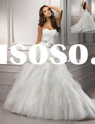Sweetheart Ball Gown Ruched Ruffles Designer Wedding Dresses