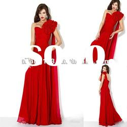 Sweetheart Flower One-shoulder Draping Ruched Red Party Dresses