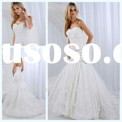 Unexceptionable stain beaded handmade flower sweetheart mermaid wedding dress