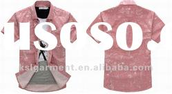 banded collar pink short sleeve button down shirts