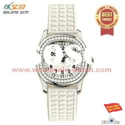 elegant leather band lady watch with diamond 2012