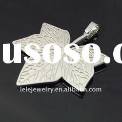 fashion big stainless steel custom jewelry with leaf