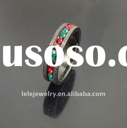 fashion black edge stainless steel rings jewellery with blue mix red crystal