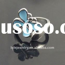 fashion blue stainless steel butterfly ring