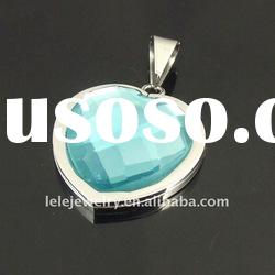 fashion blue stainless steel crystal pendant
